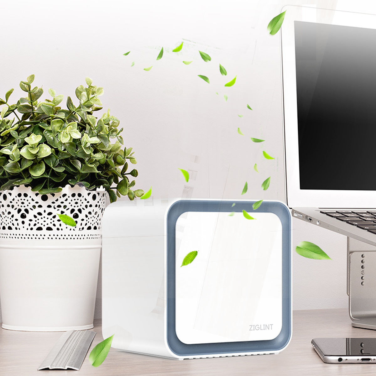 ZIGLINT A3 3 in 1 Desktop Ionic Air Purifier with HEPA Filter, Odor Allergies Eliminator for Smokers, Smoke, Dust, Mold, Home and Pets, Air Cleaner