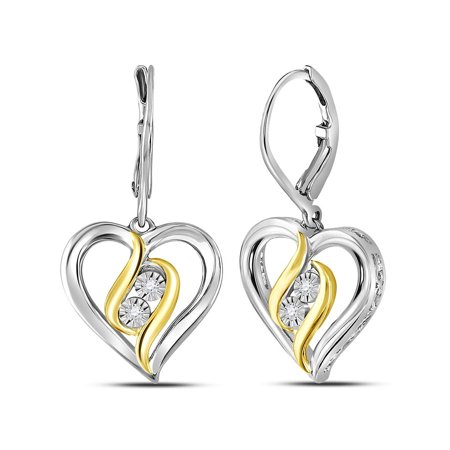 1/20 Carat (ctw J-K, I2-I3) Leverback Diamond Heart Earrings in Sterling Silver with - image 1 de 1