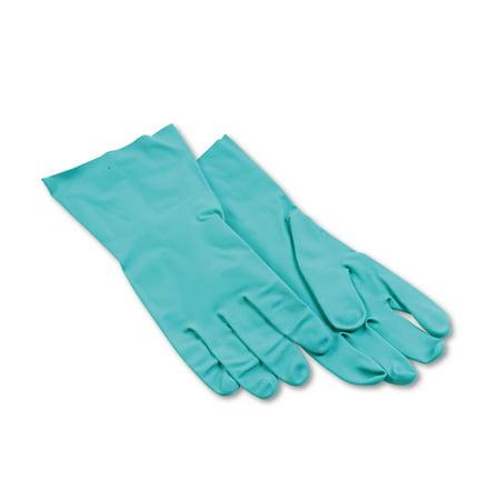 Boardwalk Nitrile Flock-Lined Gloves, Large, Green, Dozen -BWK183L