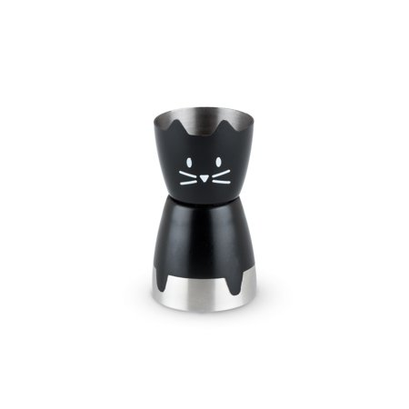 Black Cocktail Case - Bar Jigger, Cute Black Cat Double Stainless Steel Cocktail Jigger (Sold by Case, Pack of 10)