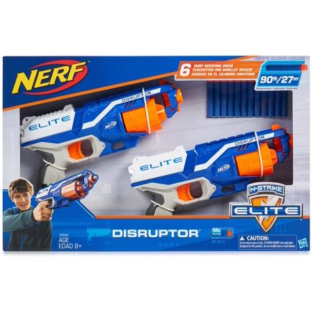 Nerf N-Strike Elite Disruptor 6 Dart Rapid Fire Nerf Gun Blaster (2-Pack) - Rapid Fire Marshmallow Shooter