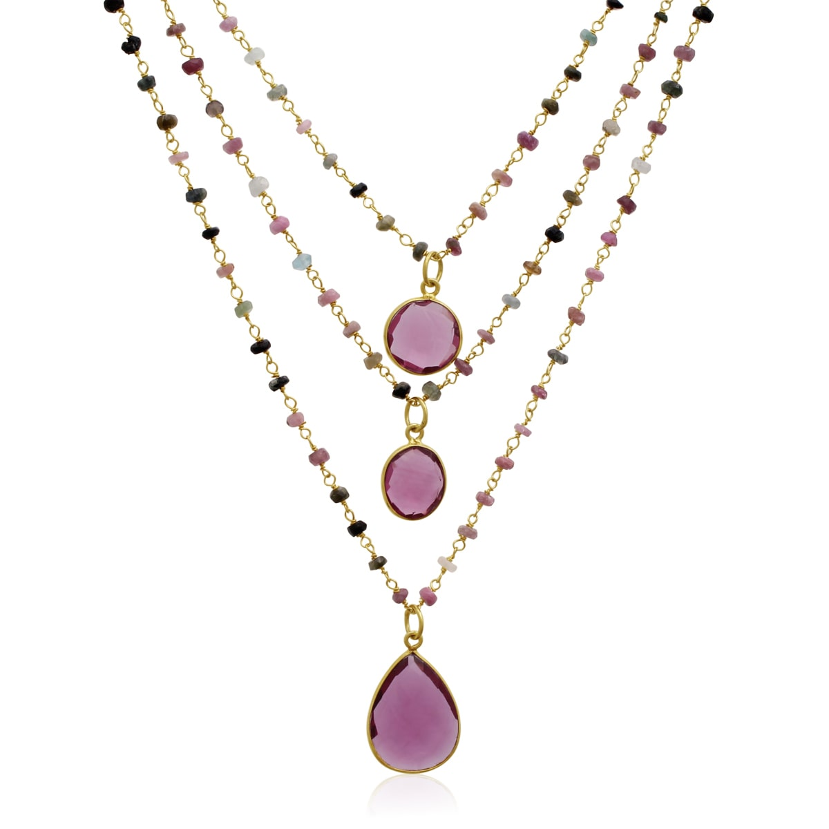 SuperJeweler Yellow Gold Over Sterling Silver 24 TGW Pink Tourmaline Triple Strand Beaded Necklace, 26 Inches by Overstock