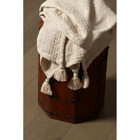 LR Home Soft Cotton Solid Beige Patchwork Tassel 50 in. x 60 in. Natural Gingham Throw Blanket