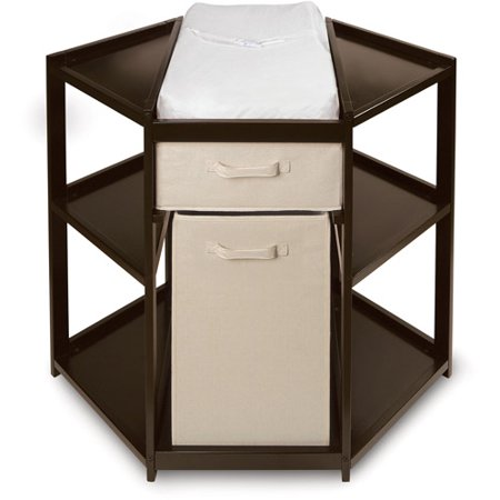 Badger Basket Diaper Corner Baby Changing Table with Hamper and Basket, Espresso