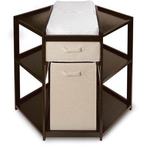 Good Badger Basket Diaper Corner Baby Changing Table With Hamper And Basket,  Espresso