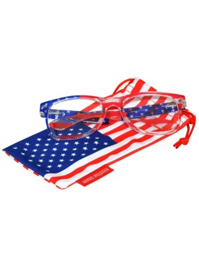e0ec6d276d Product Image Classic American Patriot Sunglasses USA Clear American Flag  Frame Clear Lens OWL with American Flag Pouch