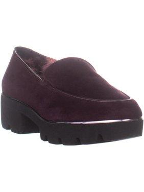 Womens DKNY Ayda Platform Loafers, Oxblood Suede