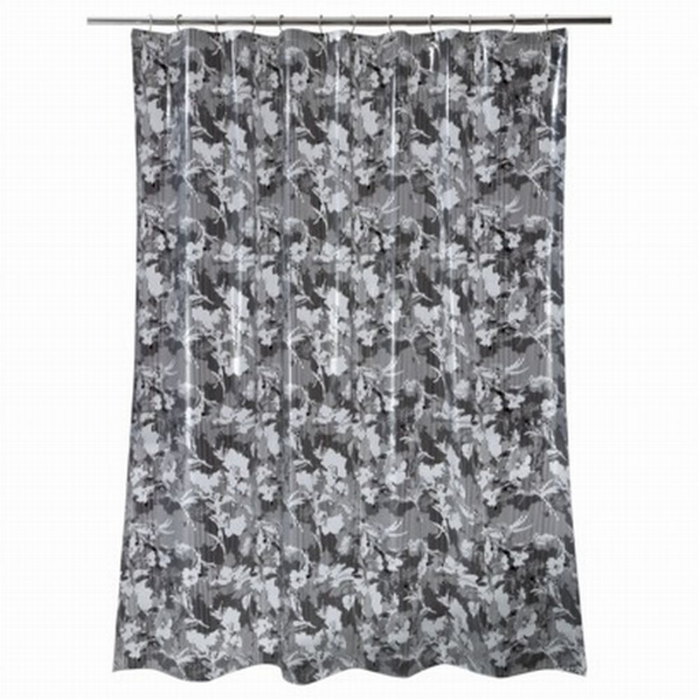 Bath Style Black Floral Stripe PEVA Vinyl Shower Curtain Bath