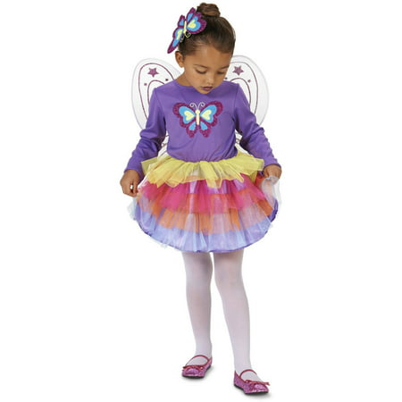 Neon Purple Butterfly Toddler Halloween Costume, Size 3T-4T - Social Butterfly Halloween Costume