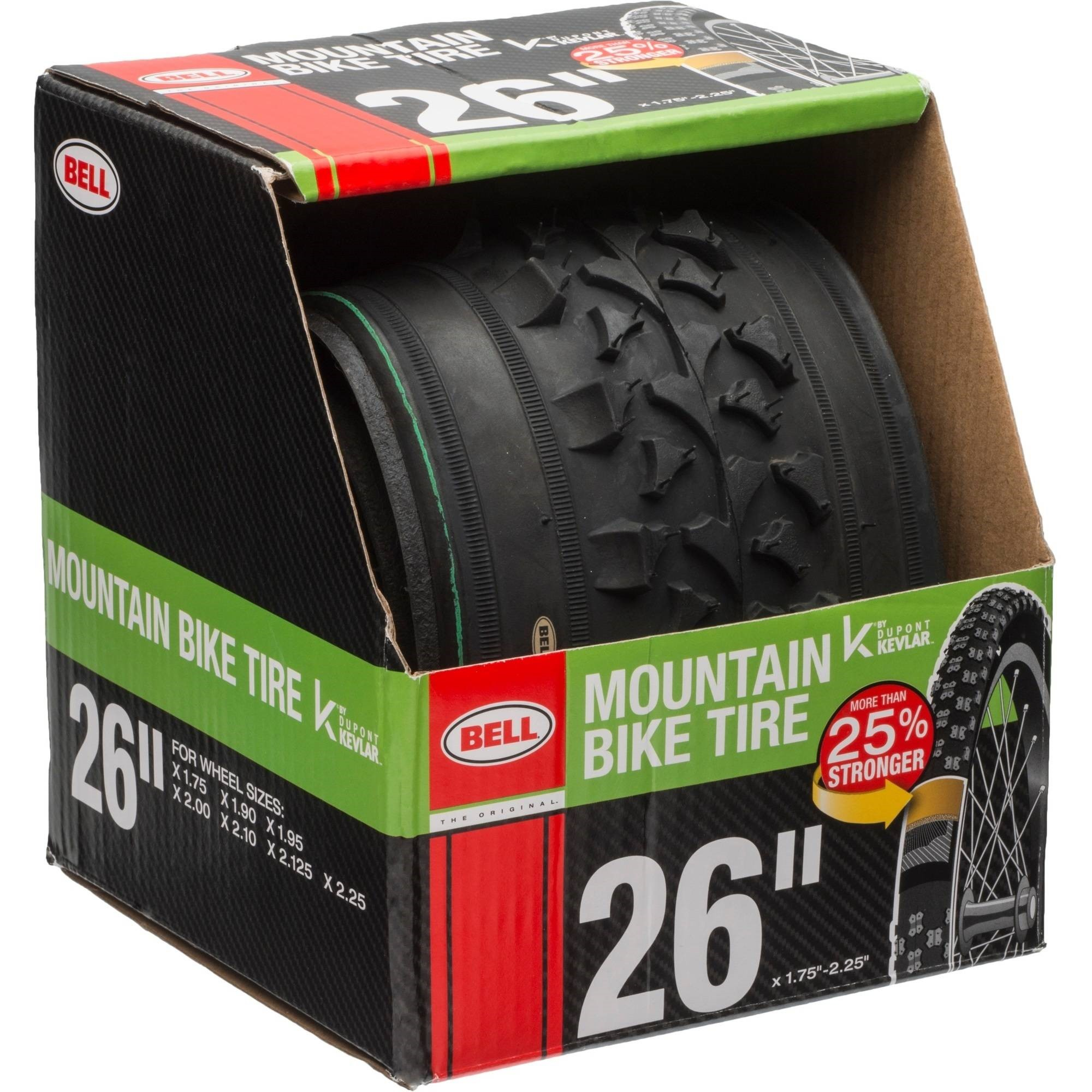 "Bell Sports Traction Mountain Bike Tire with Kevlar, 26"" x 1.75-2.25"", Black"