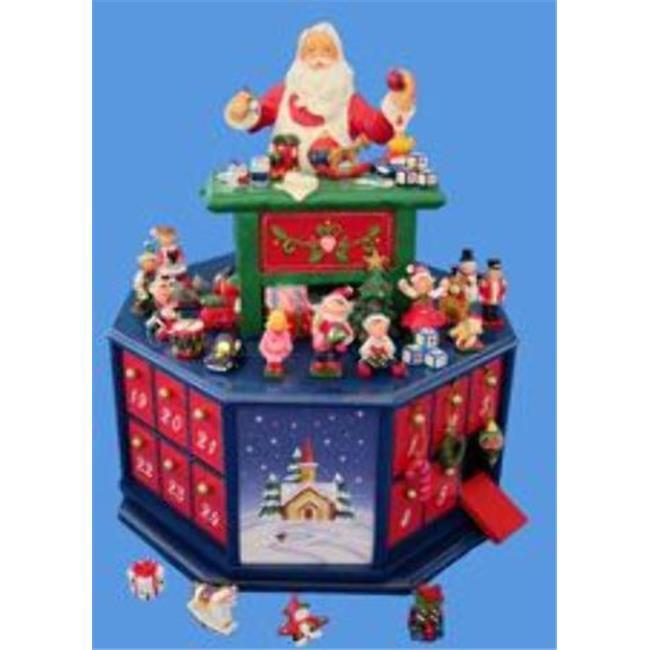 Kurtadler 1913598 Wooden Santas Workshop Wind-Up Musical Advent Calendar - Case of 3