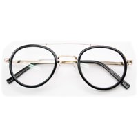 95eb7ba66d7 V.W.E. Vintage Inspired Metal Bridge and Temple - Clip-On Look Clear Lens  Round Eye