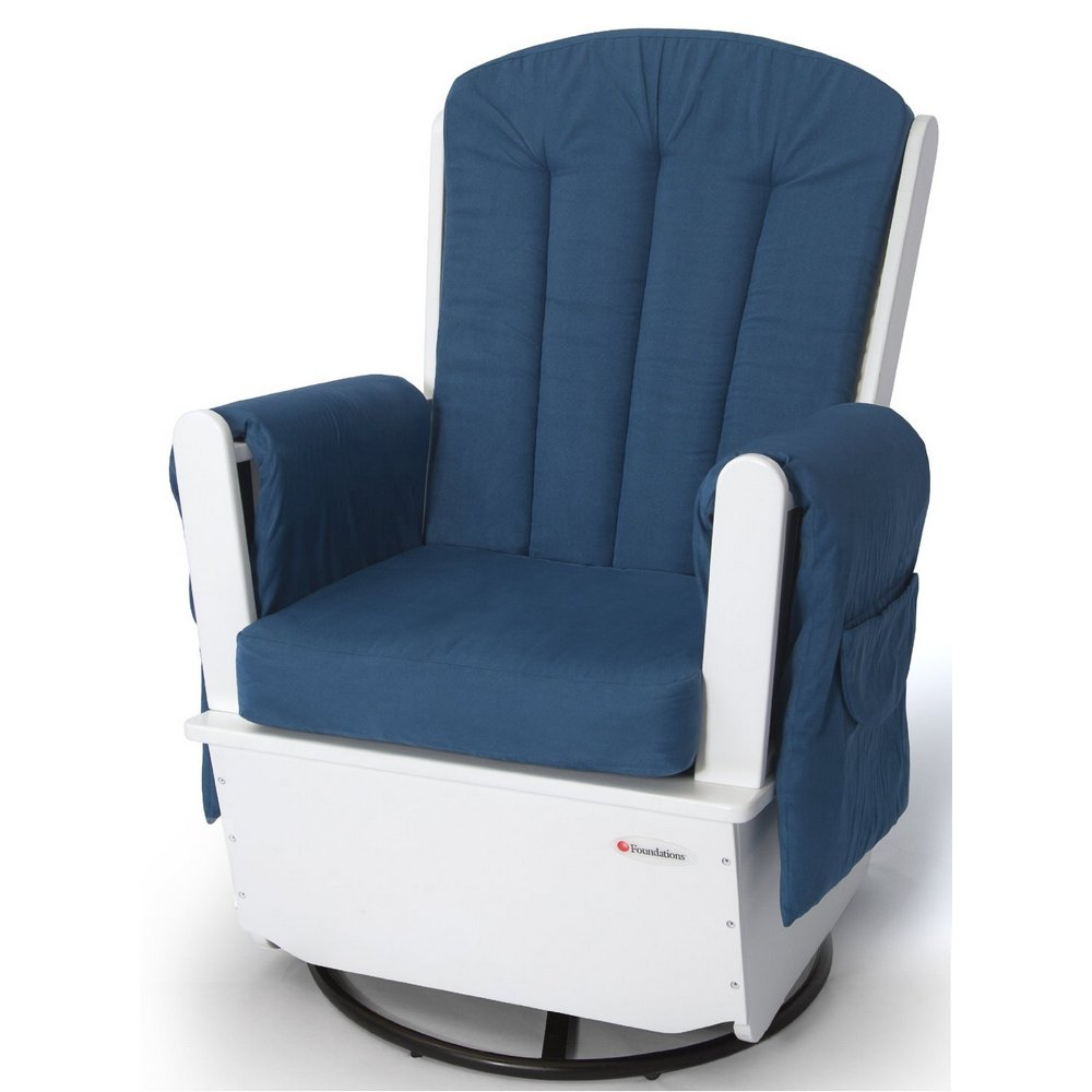 SafeRocker Swivel Glider Rocker w/ Metal Base - White