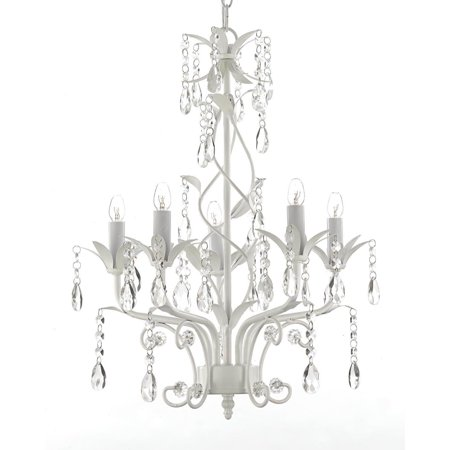 Wrought Iron and Crystal 5 Light White Chandelier - Can be Hardwired or Plugged in ! Arm White Flower Crystal Chandelier