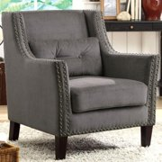 A Line Furniture Harvard Madrid Design Decorative Grey Wing Accent Chair with Nail Head Trim