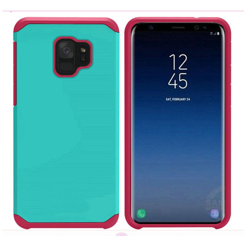 Insten Slim PC/TPU Rubber Case Cover For Samsung Galaxy S9 - Teal/Hot Pink (Bundle with USB Type C Cable) - image 1 de 3