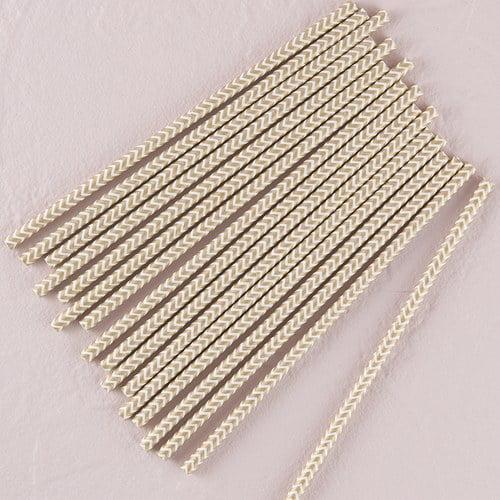 Metallic Silver Chevron Pattern Paper Straws