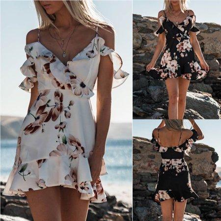 Women's Holiday Boho Floral Print Sling Short Maxi Dress Party Beach (Floral Print Dresses)