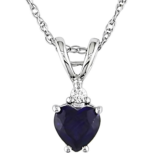 """1/2 Carat T.G.W. Created Sapphire Heart and Diamond Accent in 10kt White Gold Pendant, 17"""""""