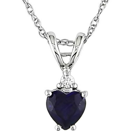1/2 Carat T.G.W. Created Sapphire Heart and Diamond Accent in 10kt White Gold Pendant, 17 9k Gold Diamond Pendant