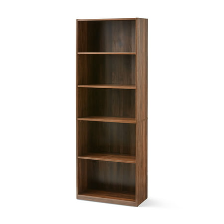 "Mainstays 71"" 5 Shelf Bookcase, Canyon Walnut"