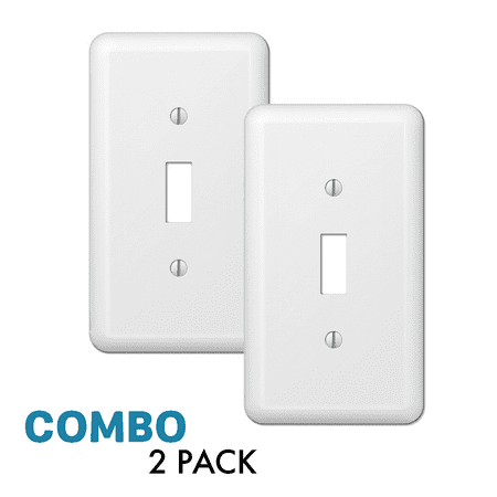 2-Pack Toggle Light Switch Wall Plate Decorative Stamped Steel Wallplate, White