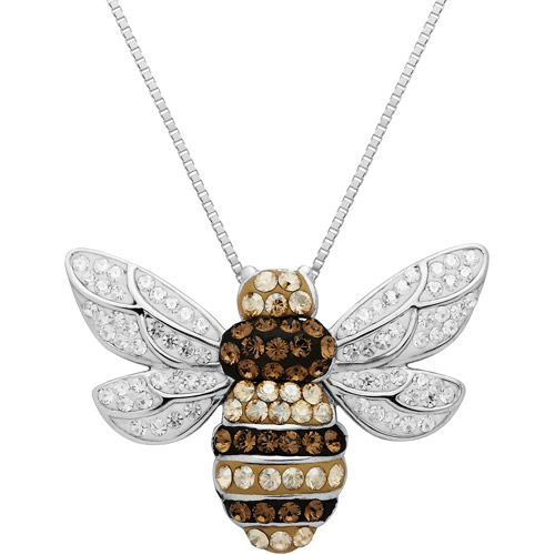 Luminesse Sterling Silver Bumble Bee Pendant made with Swarovski Elements, 18""