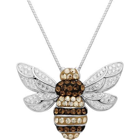 Luminesse Sterling Silver Bumble Bee Pendant made with Swarovski Elements, 18