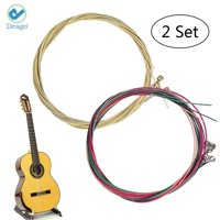 Deago 2 Sets of 6pcs Guitar Strings 1st-6th String Replacement Steel String for Acoustic Guitar (2 Colorful Set)
