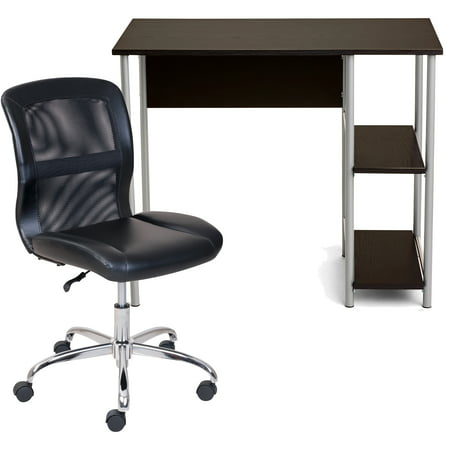 Mainstays Basic Student Desk, Multiple Colors with Mainstays Vinyl and Mesh Task Chair, Multiple Colors Bundle