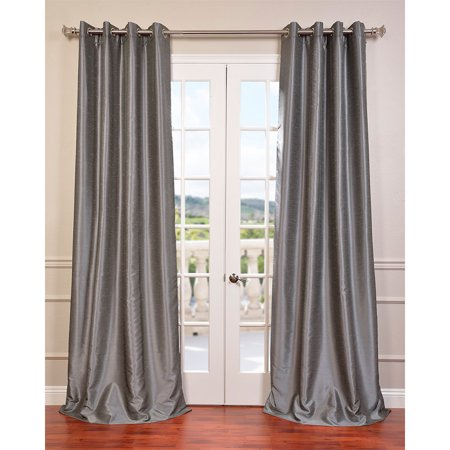 Eff Textured Dupioni Faux Silk 96 Inch Blackout Grommet Curtain Panel Storm Grey 96 L