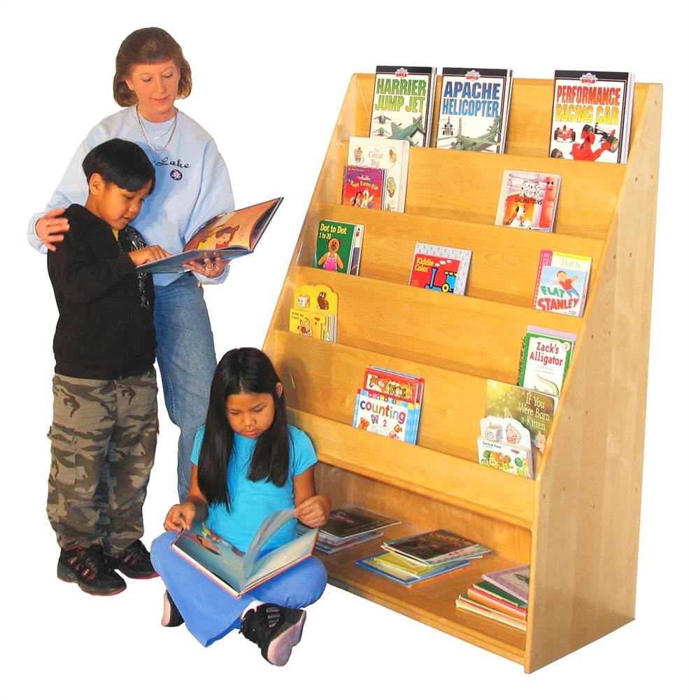 Deluxe School Age Book Display w Storage Shelf