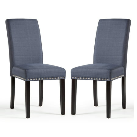 DHI Nice Nail Head Upholstered Dining Chair, 2 Pack, Multiple Colors ()