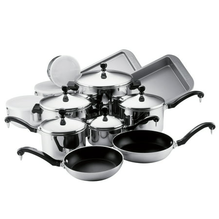 Farberware 17-Piece Classic Stainless Steel Pots and Pans Set/Cookware Set, Silver
