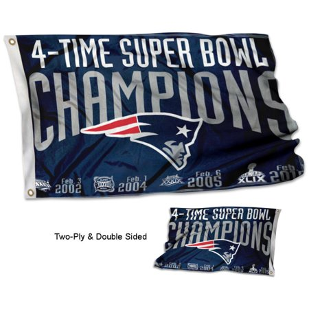 New England Patriots 4 Time Super Bowl Champions Two Sided Flag
