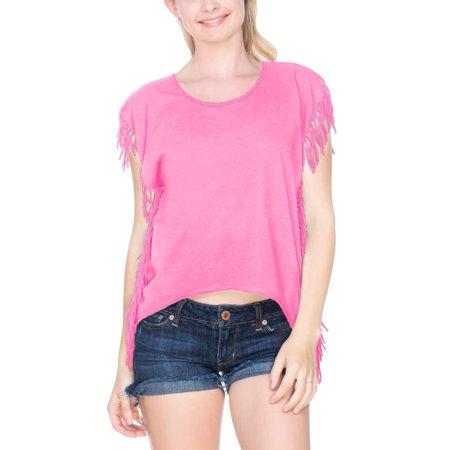 Kavio! Juniors Sheer Jersey Raw Edge Side Fringe Asymmetrical Cap Sleeve Crop Top Pink Flash