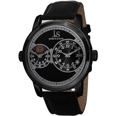 Men's Swiss Quartz Dual Time Zone Leather Black Strap -