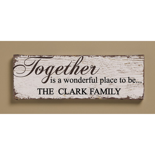 "Personalized ""Together is a Wonderful Place"" Canvas, 6"" x 18"""
