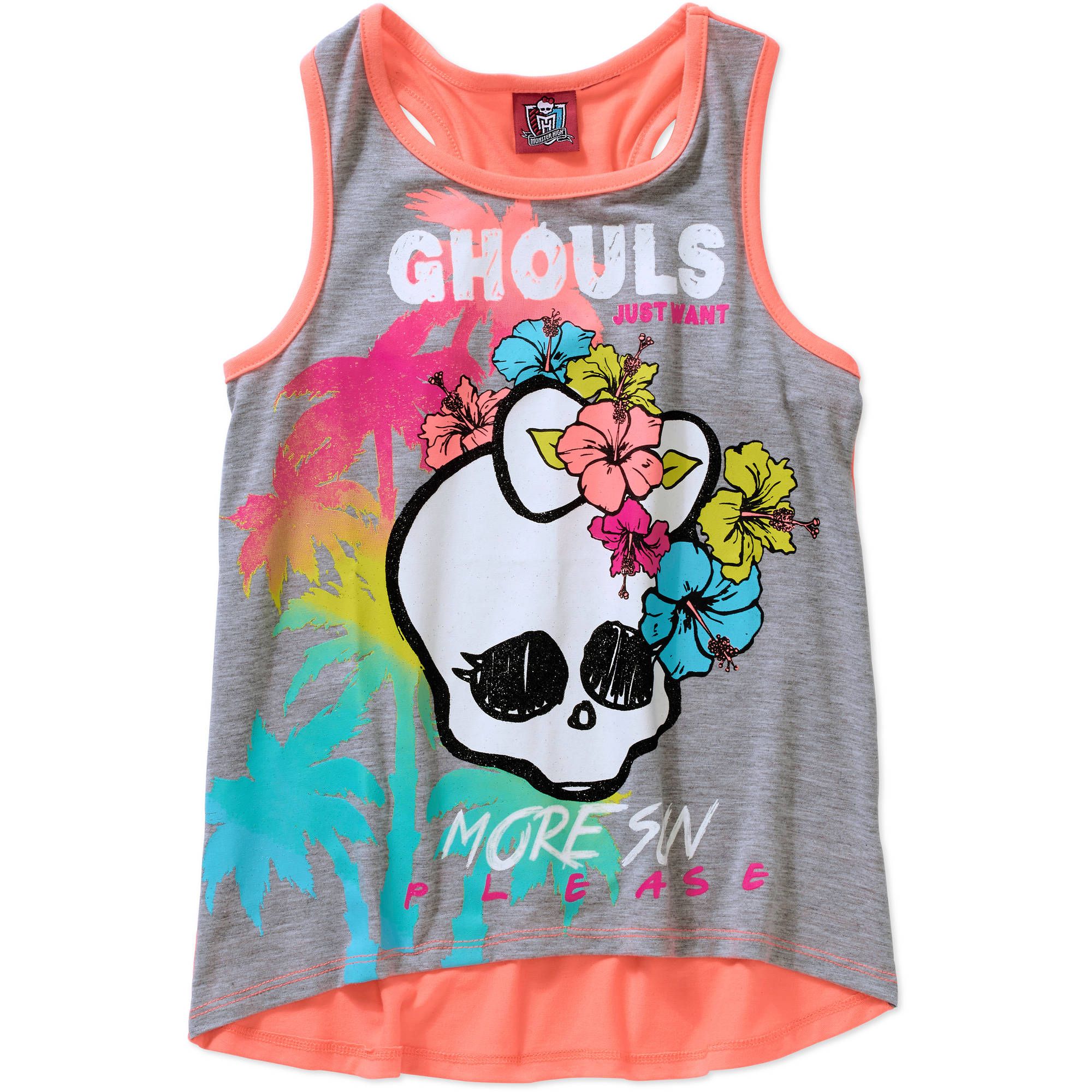 Monster High Girls' Hi Lo Racerback Graphic Tank