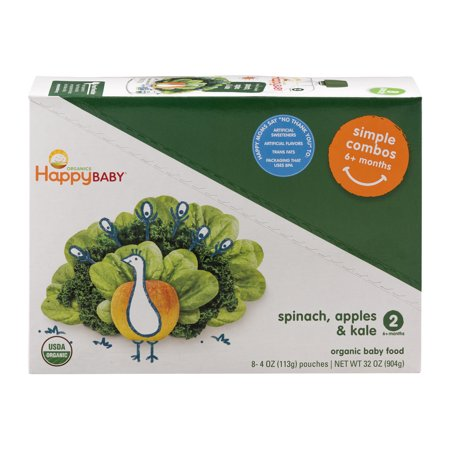 (8 Pouches) Happy Baby Simple Combos Stage 2 Spinach, Apples & Kale Organic Baby Food, 4