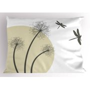 Dragonfly Pillow Sham Spring Dandelions Botany Blossoming Petals Essence of Nature Growth Theme, Decorative Standard Queen Size Printed Pillowcase, 30 X 20 Inches, Tan Army Green, by Ambesonne