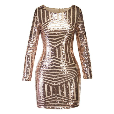 Bodycon Bandage Dresses for Women Long Sleeve Backless Glittering Sequin Evening Party Cocktail Short Mini Club (Confetti Sequins Dress)