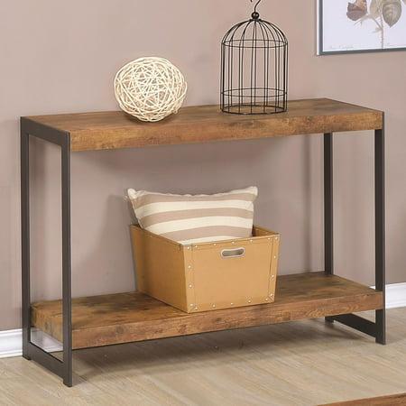 Benzara Minimalist Sofa Table With Metal Base & Wooden Top/Bottom, Antique Nutmeg Brown ()