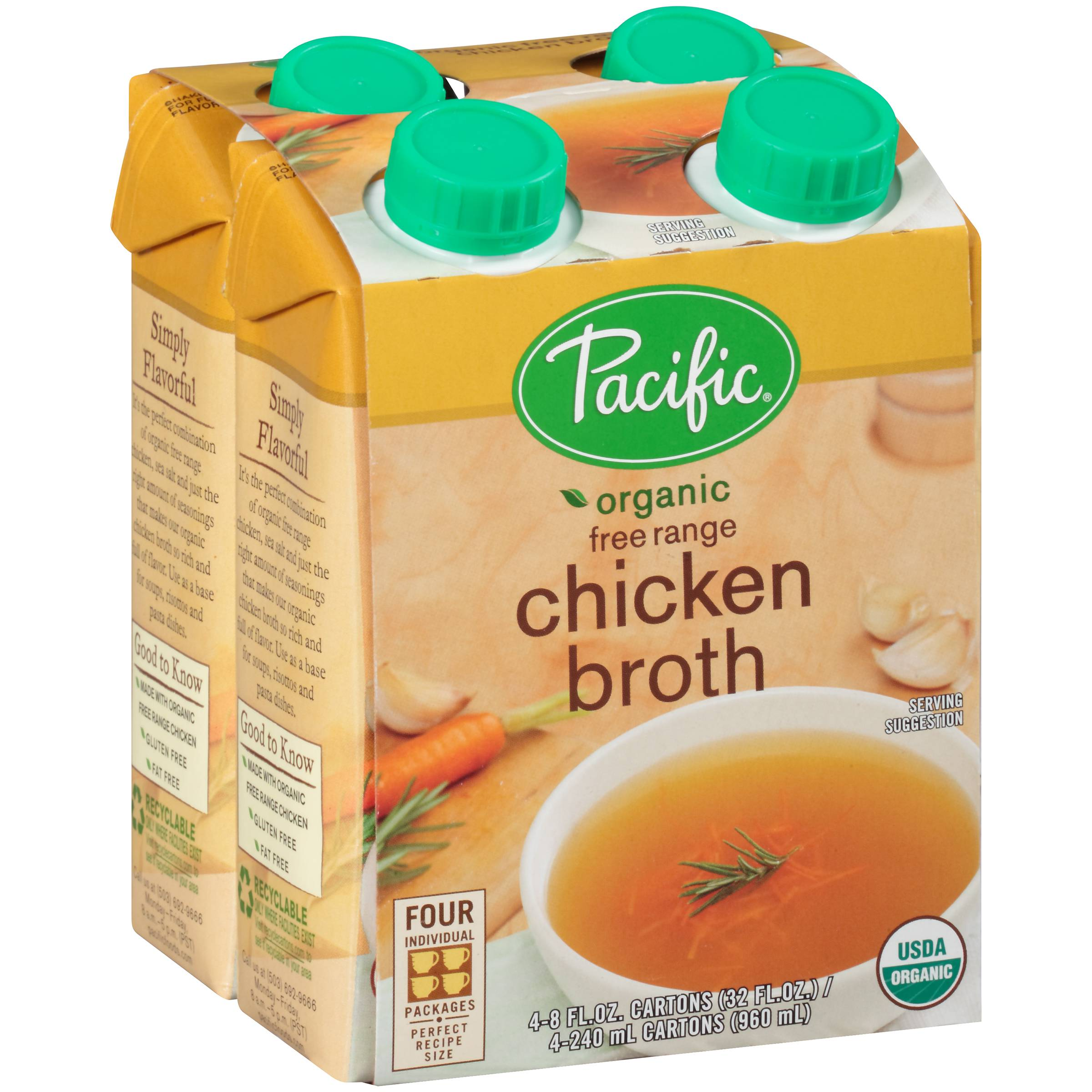Pacific Foods Organic Free Range Chicken Broth 4Count (PACK OF 6)