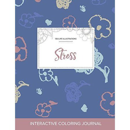 Adult Coloring Journal: Stress (Sea Life Illustrations, Simple Flowers) - image 1 of 1