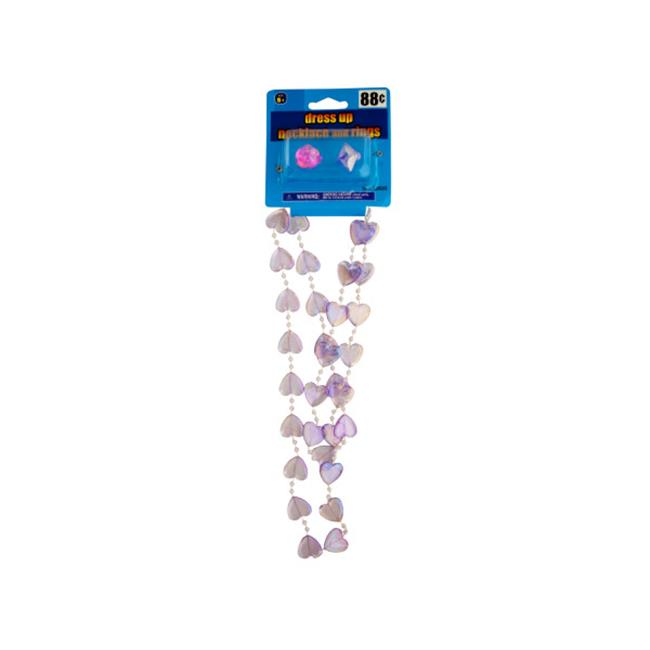 Bulk Buys KA246-24 Dress Up Beaded Hearts Necklace and Rings Set by Bulk Buys
