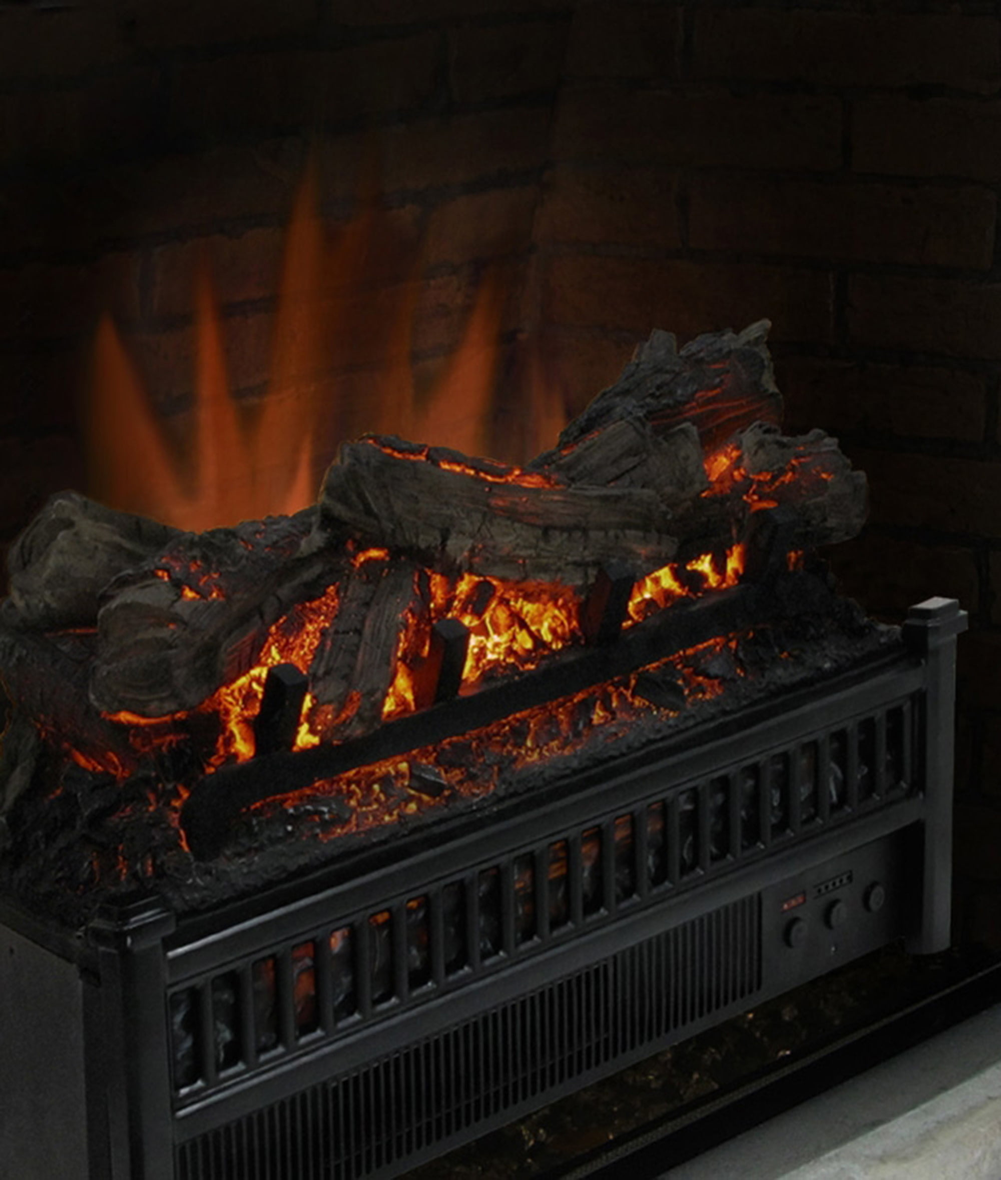 Log Set Wood Crackling Fire Realistic With Heater Electric Fireplace 23 in