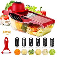 Walfront Mandoline Slicer Vegetable Cutter Chopper Dicer, Onion Cutter Chopper Pro, Kitchen Potato Slicer Food Slicer Cheese Chopper Veggie Cutter for Cucumber, 5 Interchangeable Blades with Peeler