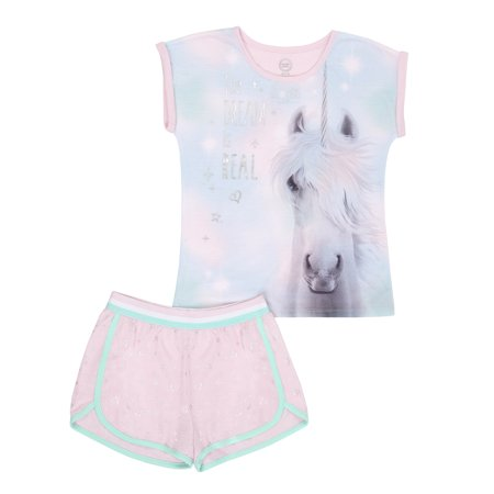 Girls' Wonder Nation 2 Piece Pajama Short Set (Little Girl & Big Girl) (Girls Sleepwear)