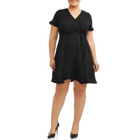 Women's Plus Size Short Sleeve Wrap Dress With Ruffle Detail